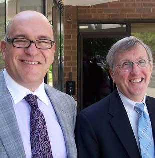 David Yost (right) is finally getting an extended vacation at the Shore. Steven H. Collis (left) is taking over as AmerisourceBergen CEO upon Yost's retirement, which was official on Friday.