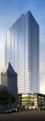 A rendering of the $100 million, 33-story apartment tower.