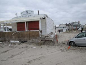 A favorite oceanfront lunch spot, the North End Beach Grill in Ocean City, saw its porch and roof pummeled by Hurricane Sandy. See slideshow.
