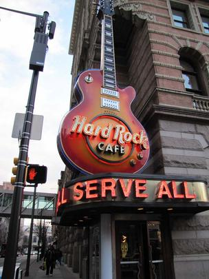 Hard Rock Cafe Philadelphia (1113-31 Market St.) opened its doors in January 1998 in the historic Reading Railroad building. Shown here is the rotating guitar over the main doorway.