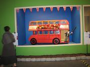 Advertisers at the show include Britannia Tours of London, which had a handmade double-decker bus.