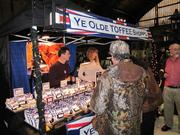 Among the British Village merchants is Ye Olde Toffee Shoppe, which was handing out samples on a recent day.