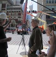 Claes Oldenburg on the streets of Philadelphia.