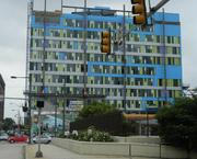 The exterior. The blue insulation will eventually be covered with silver panels.