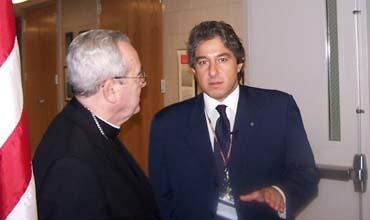 Giordano with Philadelphia Archbishop Cardinal Justin Rigali, who delivered a blessing for the new center.