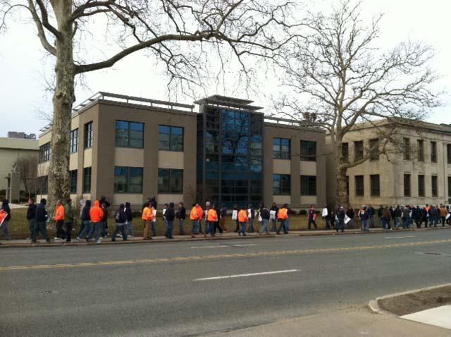 Picketing earlier this year at Aqua America's headquarters in Bryn Mawr, Pa.