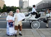 Betsy Ross and Ben Franklin (or at least re-enactors playing the parts) were also part of Diner en Blanc.