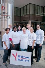 Cozen O'Connor — Employees from the law firm and wellness program representatives of Independence Blue Cross and WellNow (the firm's third-party administrator of its wellness program) join together to support one of the firm's wellness initiatives.