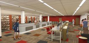 The library renovation is scheduled to be completed in May.