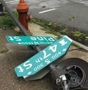 This street sign was toppled at 47th and Pine streets in Philadelphia.