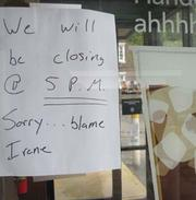 A sign posted outside the Starbucks in Bryn Mawr, Pa., Saturday.