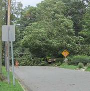 Pennswood Road in Bryn Mawr was among the many streets closed from flooding or downed trees.