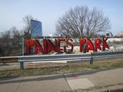 A sign on the construction site at Paine's Park.