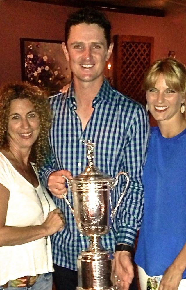 Justin Rose, winner of the U.S. Open at Merion Golf Club, celebrated at Gypsy Saloon in West Conshohocken, Pa. Pictured is restaurant co-owner Kim Strengari (left), Rose and Rose's wife Kate.
