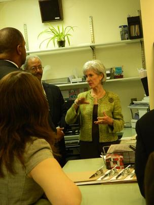 Sebelilus, U.S. Rep. Chaka Fattah (to her left) and others during her visit Tuesday to the Fairmount Primary Care Center.