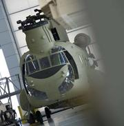 A Chinook on the factory floor.