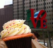 "The ""Love Strawberries and Champagne"" cupcake from Sweet Box Shop in Philadelphia's Midtown Village."