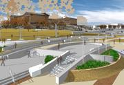 Looking toward the Philadelphia Museum of Art, Paine's Park will include a stage and amphitheater.