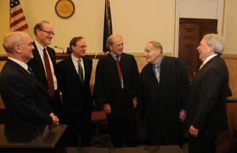 From left: The creators of Commerce Court: Marc Sonnenfeld, Darryl May, Edward Biester III, Judge John Herron, Judge Albert Sheppard Jr. (one of the court's original judges) and Mitchell Bach.