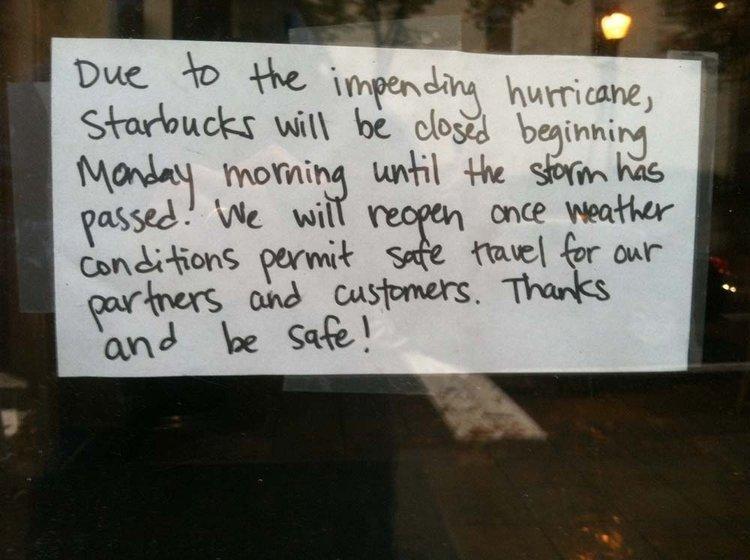 A sign outside the Starbucks in Old City, Philadelphia.