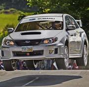 The car Higgins drove at Isle of Man course gets airborne.