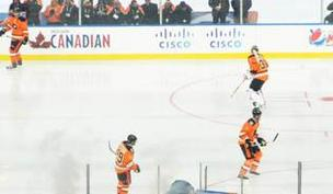 The Flyers sported alternate jerseys for the game.