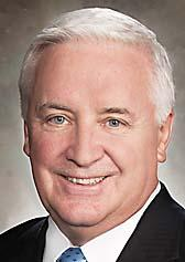 Gov. Tom Corbett was in Washington County on Monday and touted the county and state's place in the world.