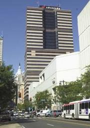 Aramark's headquarters building on Market Street. Aramark provides professional food services, facilities management and uniform and career apparel to health-care institutions, universities and school districts, stadiums and arenas, and businesses around the world.
