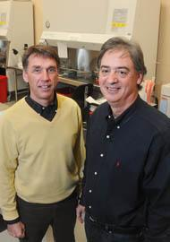 AltheRx cofounders Shawn O'Brien, president and CEO (left) and Eliot H. Ohlstein, the company's chief scientific officer. AltheRx was the first success story for BioPort's Mission 15/15 initiative.