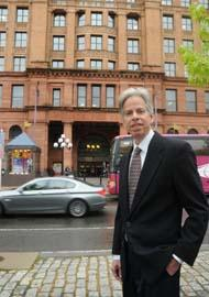 Bruce Greiff of Kaiserman Co. stands across the street from the Bourse, where office space is available.