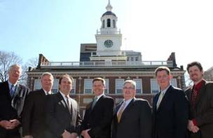 The members for the Dare Business Network at Independence Hall. From left: Chris Unger, Michael G. Ryan, Ronald Cappello, Michael E. Hermann, Paul T. Hoyle, Scott Dare and Gregory M. Elko.