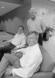 From left: Discovery Labs' John G. Cooper, Thomas F. Miller and W. Thomas Amick (standing).