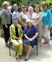 Some of the ladies of the Village Improvement Association board. Seated: Marianne Chabot, president; Kathryn Lambert, immediate past president. Standing, on left: Carolyn Kozakowski, recording secretary; Beverly Coller Campbell, assistant treasurer; Barbara Kieffer, treasurer; Cory Schroeder, second vice president; Carolyn Della-Rodolfa, vice president health services; Linda McIlhinney, first vice president.