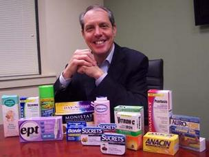 Gary Downing of Insight Pharmaceuticals displays a  partial collection of Insight's portfolio of products.