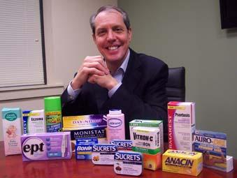 Gary Downing displays a partial collection of Insight's portfolio of products.