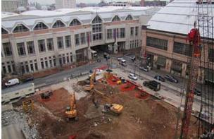 Clockwise from top left: The Pennsylvania Convention Center, Reading Terminal and the Home2Suites excavation.