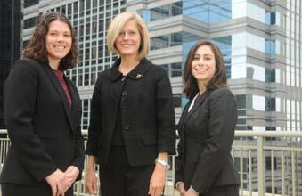 Morgan Lewis & Bockius hiring partner Tracy Steele is flanked by two of the Philadelphia-based firm's new first-year associates, Kate Moll-Taylor (left) and Melina Forte.