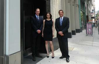 Steve O'Malley (left) and Jackie Balin of Fameco Real Estate with Gary Silvi of Vesper.