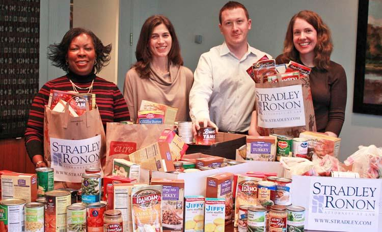 Stradley Ronon's associates' committee organized a Thanksgiving food drive for Philabundance that collected 461 pounds of food and more than $450 for the charity.