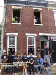 Susquehanna Bank staff at a Habitat for Humanity build site in Camden.