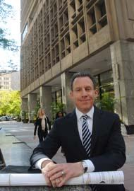 Michael Salove in front of 1700 Market St., which will get an addition.