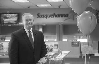 Jeff Culp, Susquehanna Bank's Delaware Valley regional vice president, at a recently rebranded branch it acquired from Tower, on Paoli Pike in Goshen.