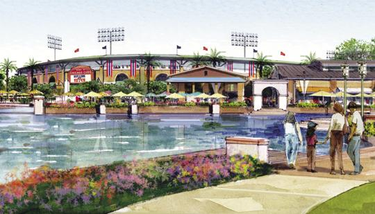 A rendering of the new Chicago Cubs spring training park under construction in Mesa.