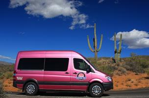 Pink Jeep Adventures will launch Jan. 1 in Scottsdale with the help of these Mercedes Benz all-pink Sprinter vans.