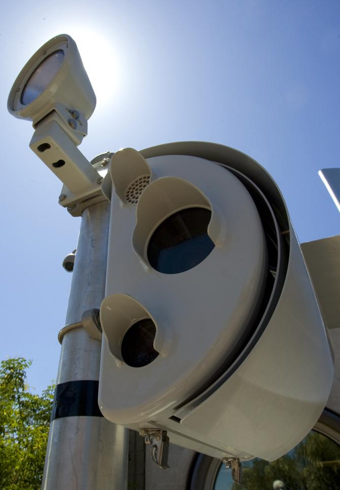 A traffic camera from American Traffic Solutions.