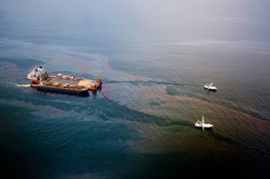 Oil booms from BP oil spill.