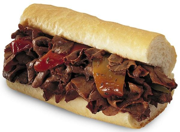 An Italian beef sandwich with sweet peppers from Portillo's.