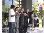 Several hotel and Phoenix officials gathered for the ribbon cutting of the Hotel Palomar in Phoenix on Thursday. Gathered are, from left, Stephen Jones, executive chef of the hotel's Blue Hound Kitchen & Cocktails restaurant; Jeff Moloznik, general manager of CityScape; Mike Ebert, managing partner of RED Development; and Phoenix Mayor Greg Stanton.