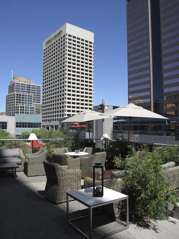 The view from a patio at the Hotel Palomar offers sights of the Phoenix skyline.