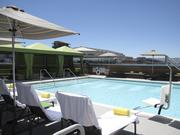 Another view of the pool overlooking the city at the Hotel Palomar in Phoenix.